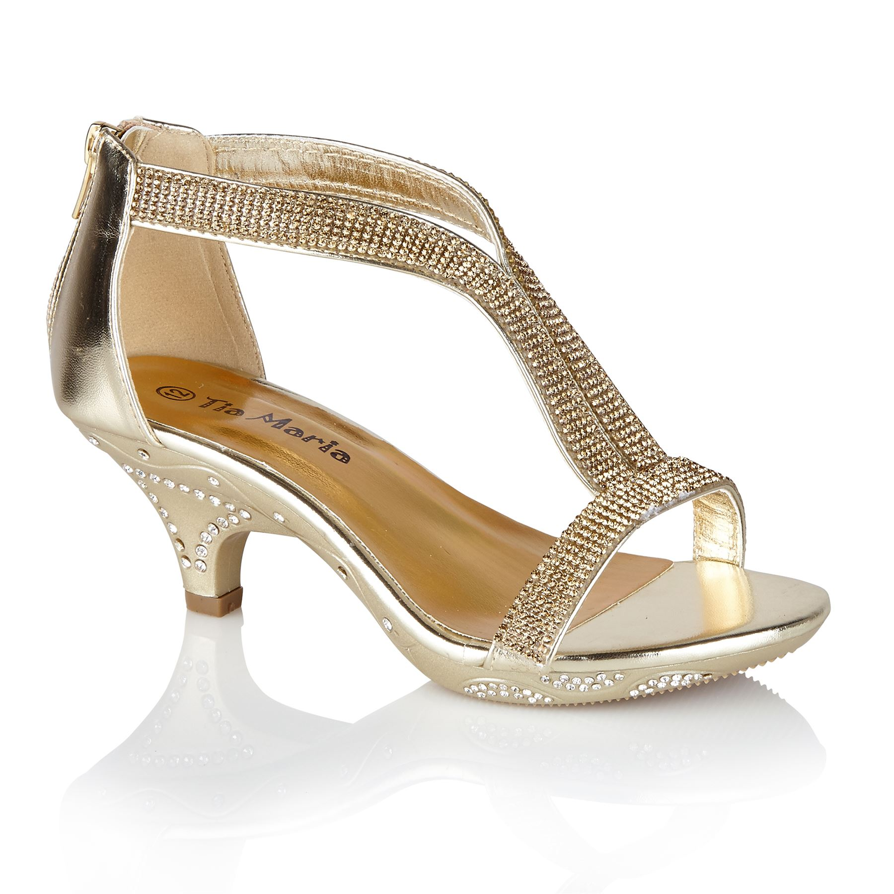 14 Tia Maria Girls Mid Heel Diamante Sandals Children/'s Party Kids Shoes