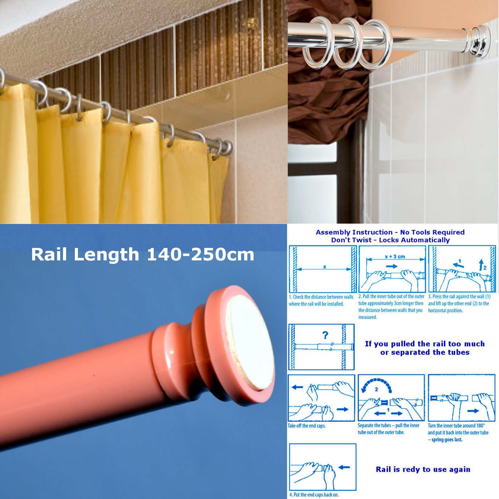 140-250cm Spring Loaded Extendable Telescopic Shower Curtain Rail ...