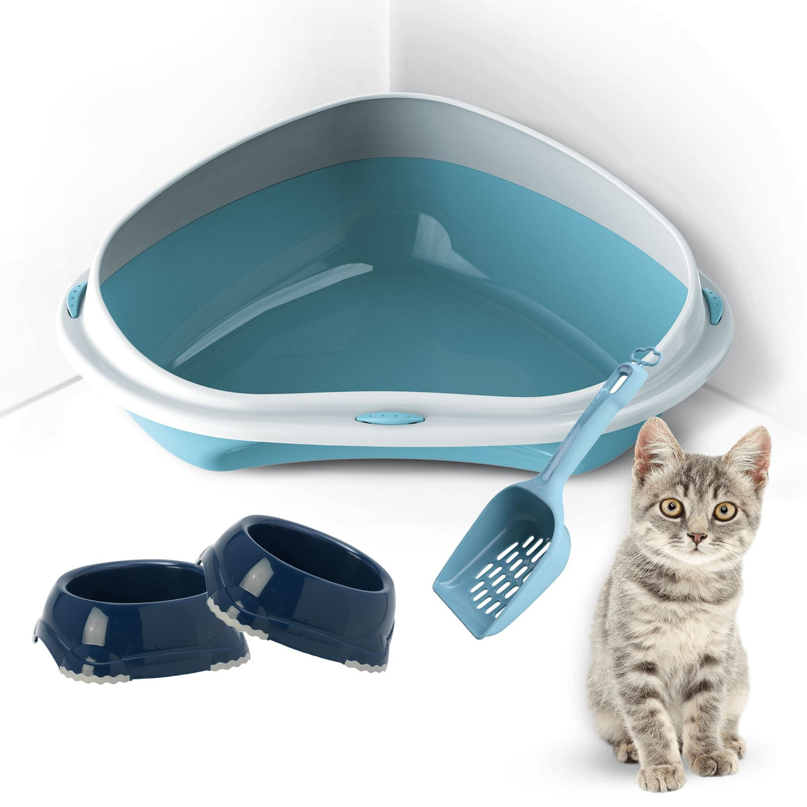Large Corner Cat Or Kitten Litter Tray 2 Bowls Scoop