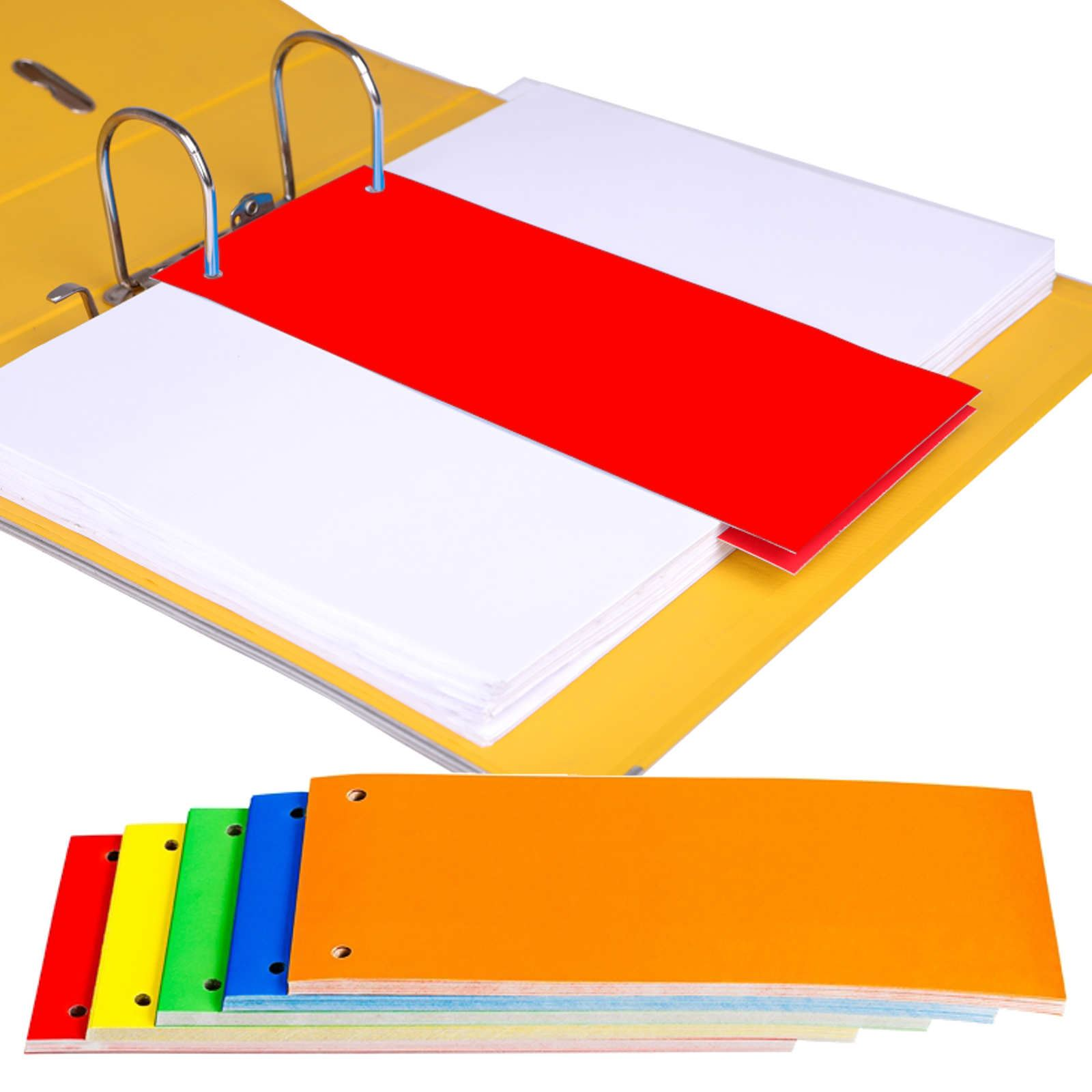1/3 A4 Card Dividers For Ring Binders Lever Arch Folders
