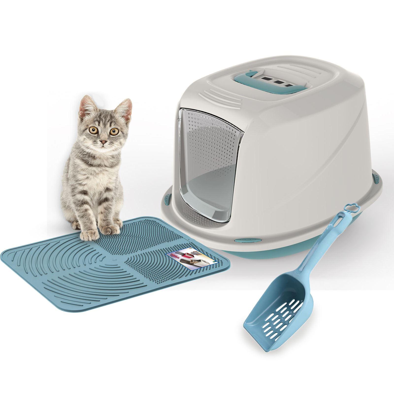 premium hooded kitten cat litter box tray filter scoop. Black Bedroom Furniture Sets. Home Design Ideas
