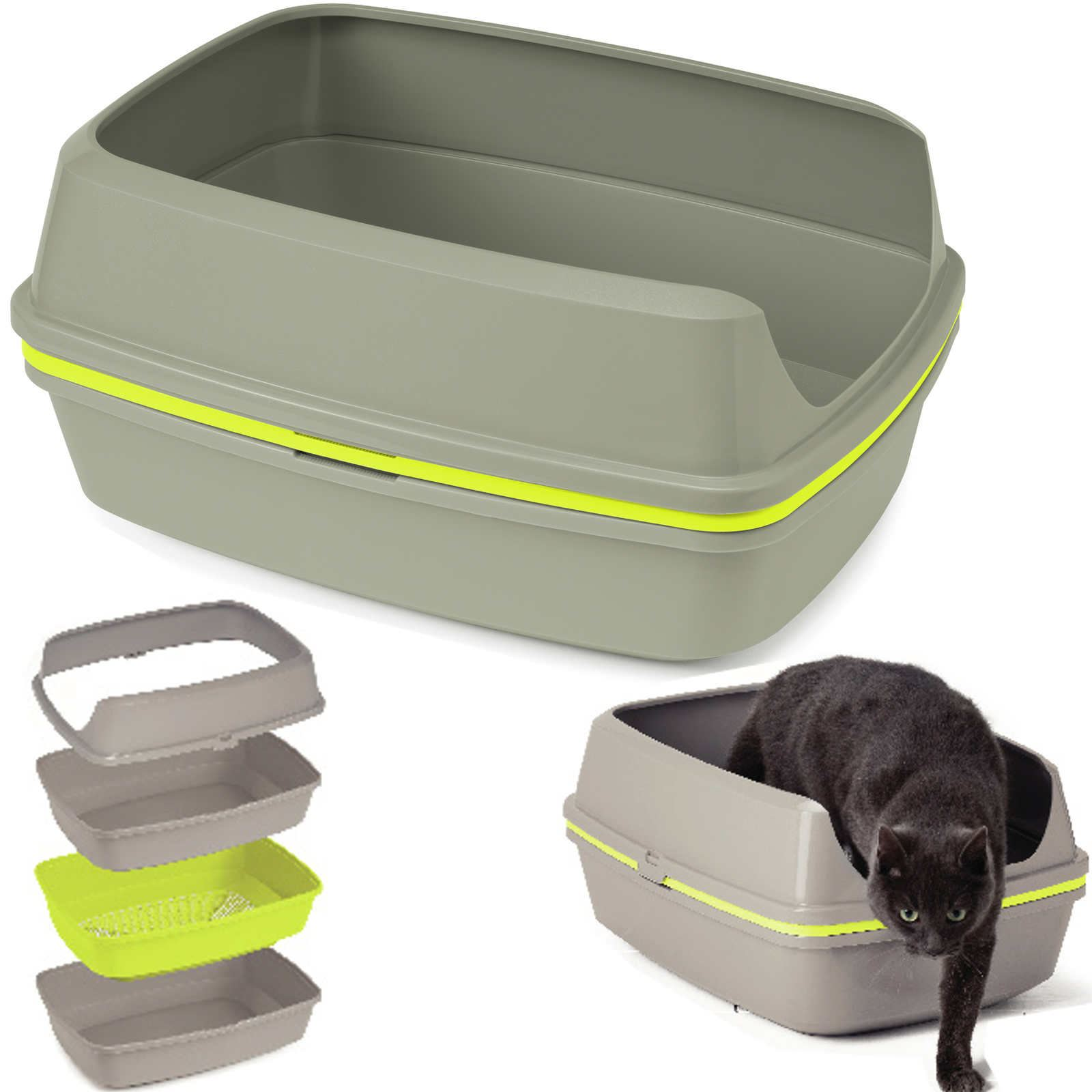 Grey Lift To Sift Cat Litter Tray