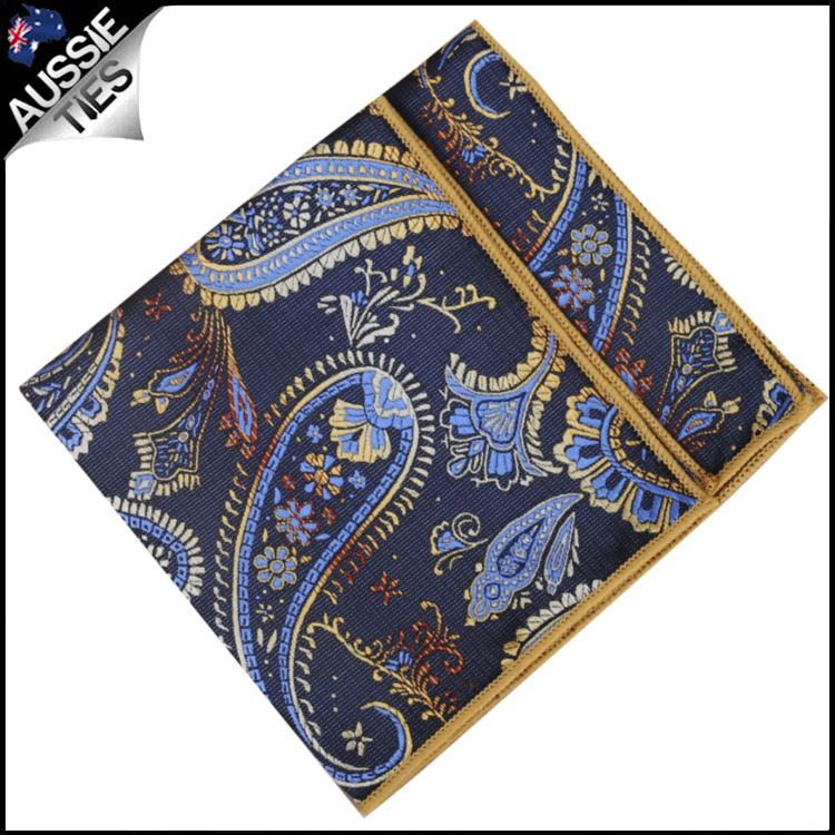 Navy and Gold Paisley Pocket Square