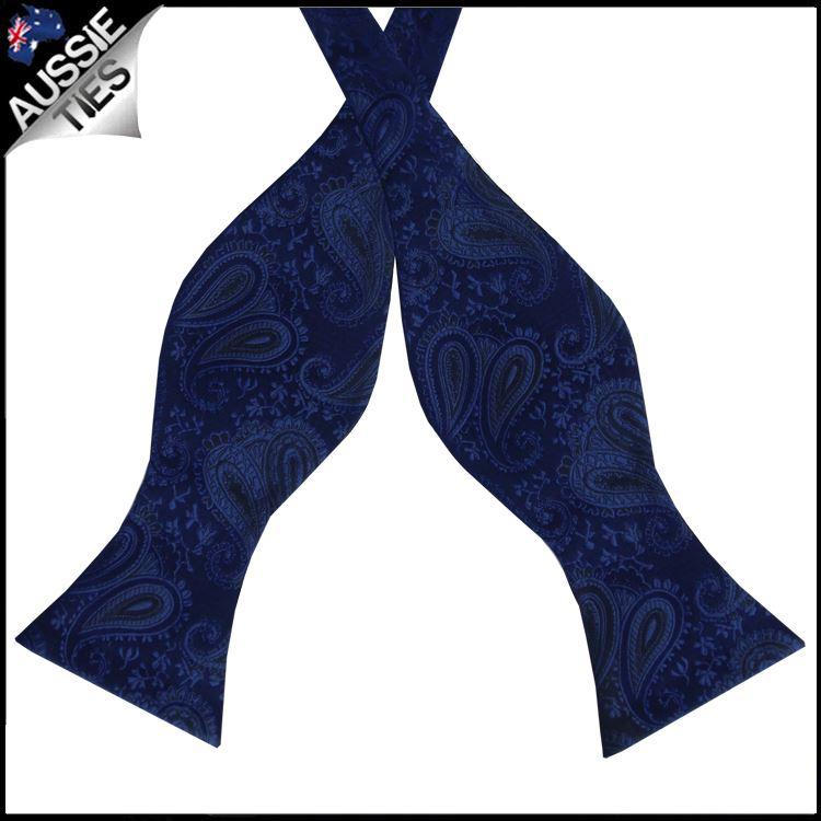 Midnight Blue Paisley Self Tie Bow Tie