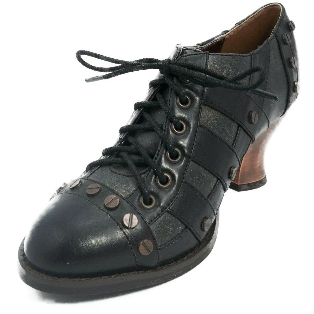 1f310e873341 Jade Black Low Heel by Hades at Hell s Boutique. A Steampunk Victorian  French Spanish influenced shoe with Vintage style lacing. The heel is 2.5  inches.