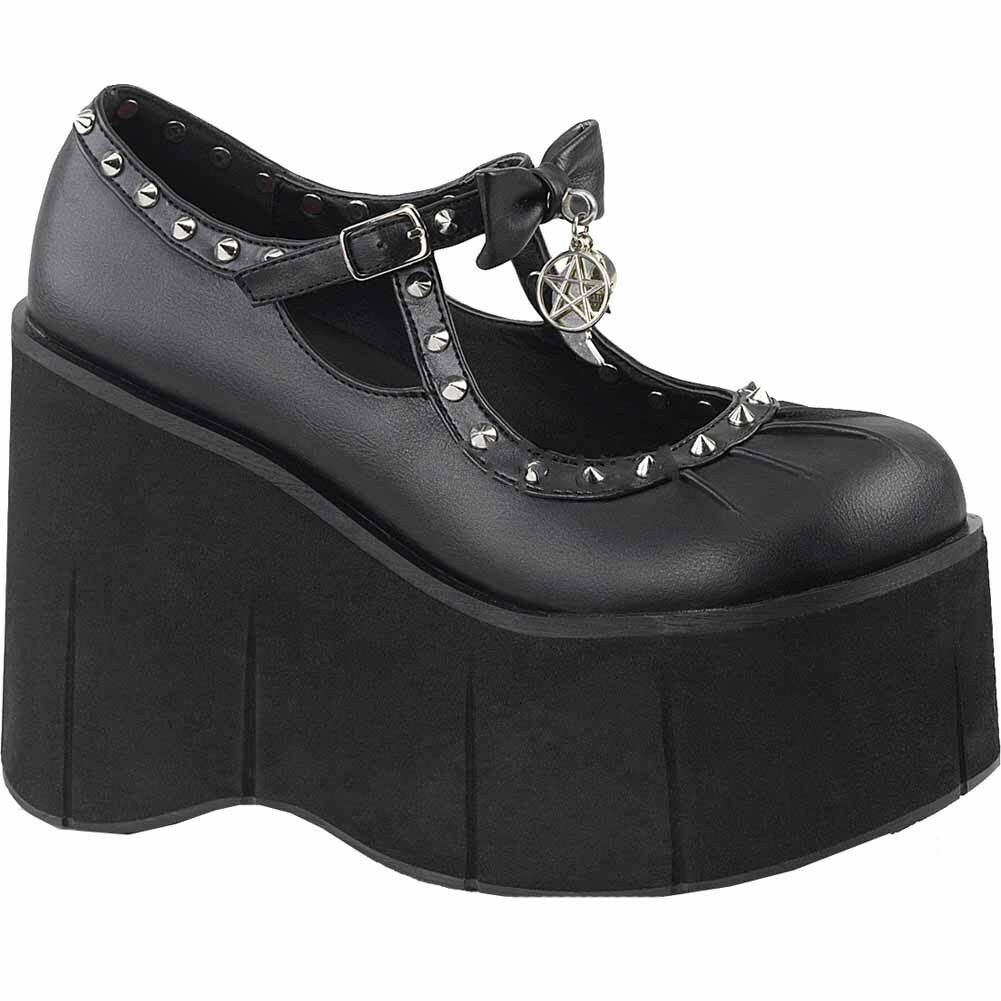 b3fc486561ee Details about Women s Demonia KERA-14 Platform Mary Jane Shoe Black Goth  Spiked Occult Moon
