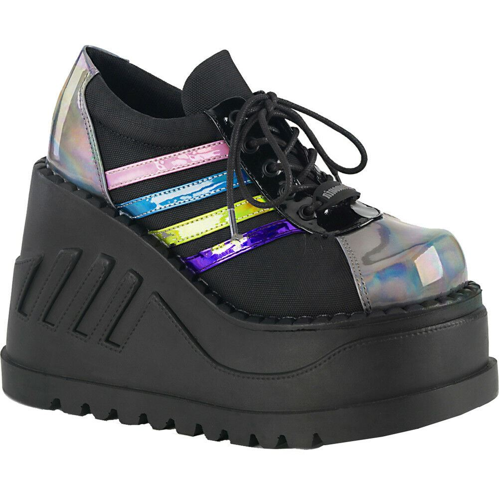 ee877eb79c35 Details about Women s Demonia STOMP-08 Wedge Platform Shoe Black Pewter  Goth Rainbow Hologram