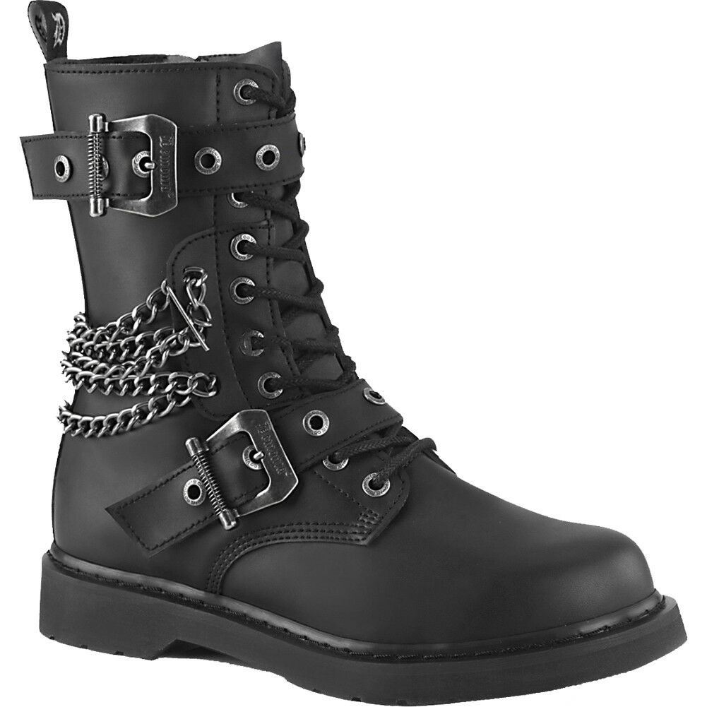 eff939903796 Details about Unisex Demonia BOLT-250 Mid-Calf Combat Boot Black Goth Punk  Chains Buckles