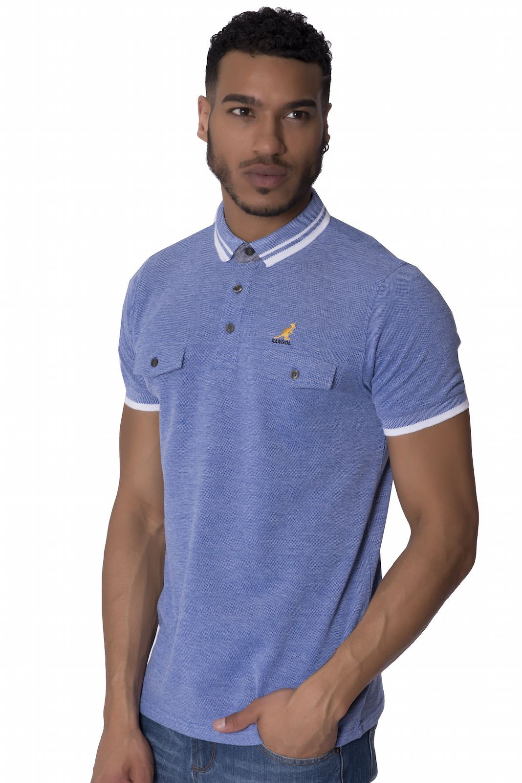 Kangol mens branded polo shirt chest pocket button up for Short sleeve polo shirt with pocket