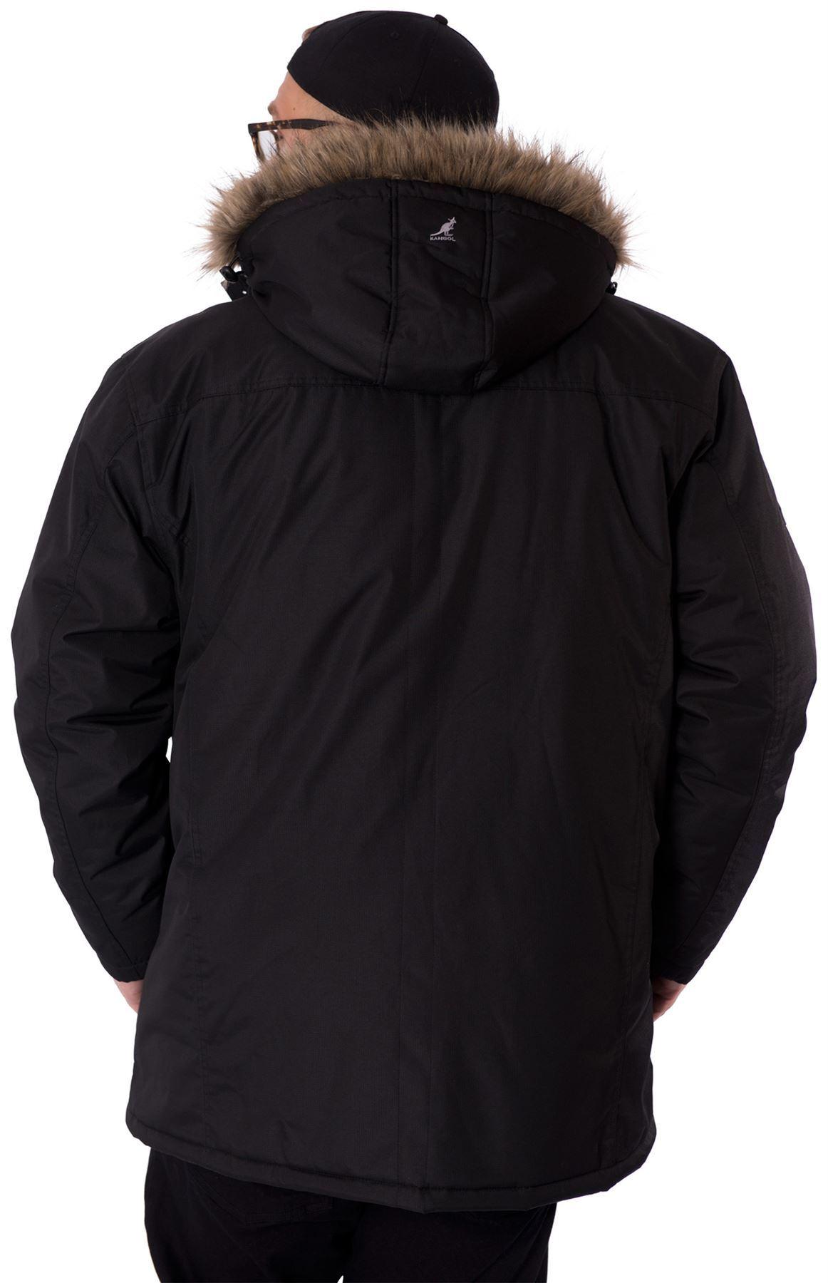 Kangol Big Mens King Plus Size Parka Jacket Zip Faux Fur