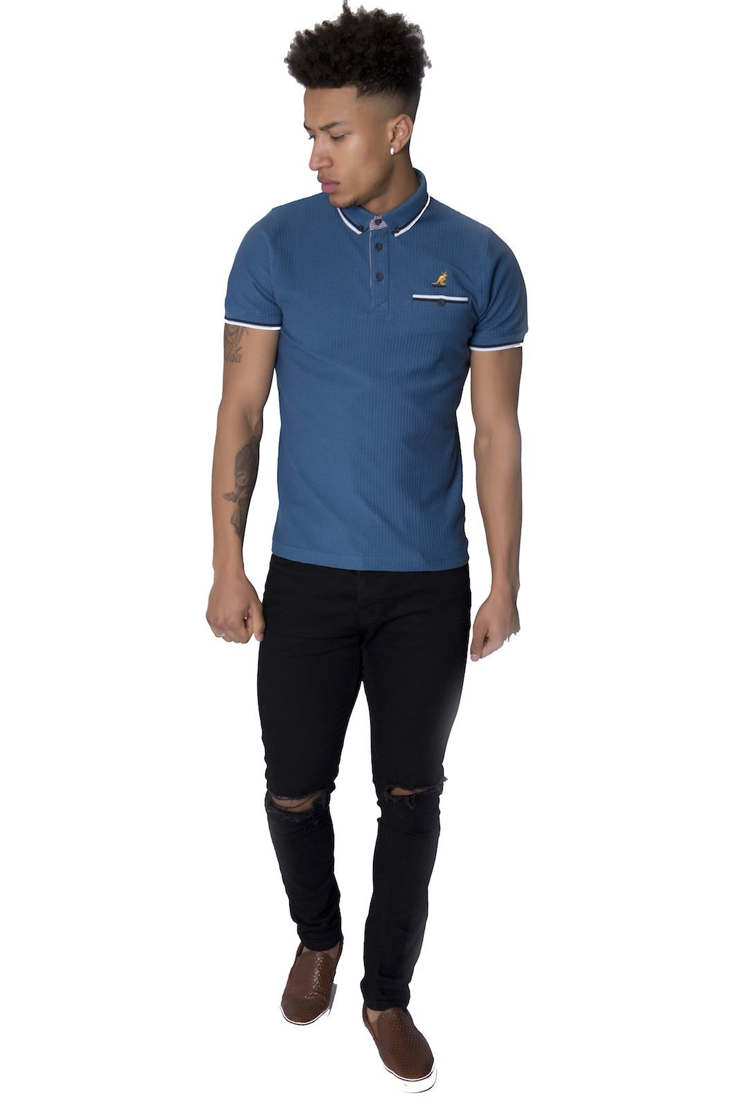 Kangol mens short sleeve button down collared cotton polo for Best short sleeve button down shirts reddit