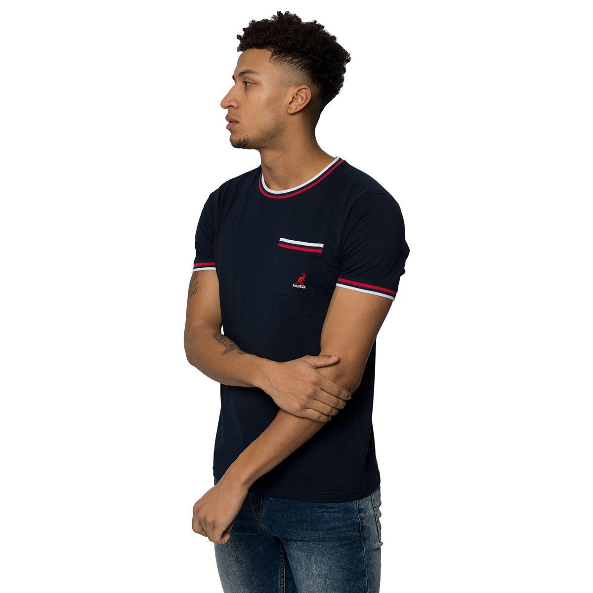 Mens kangol designer cotton top crew neck tee short for Mens crew neck tee shirts