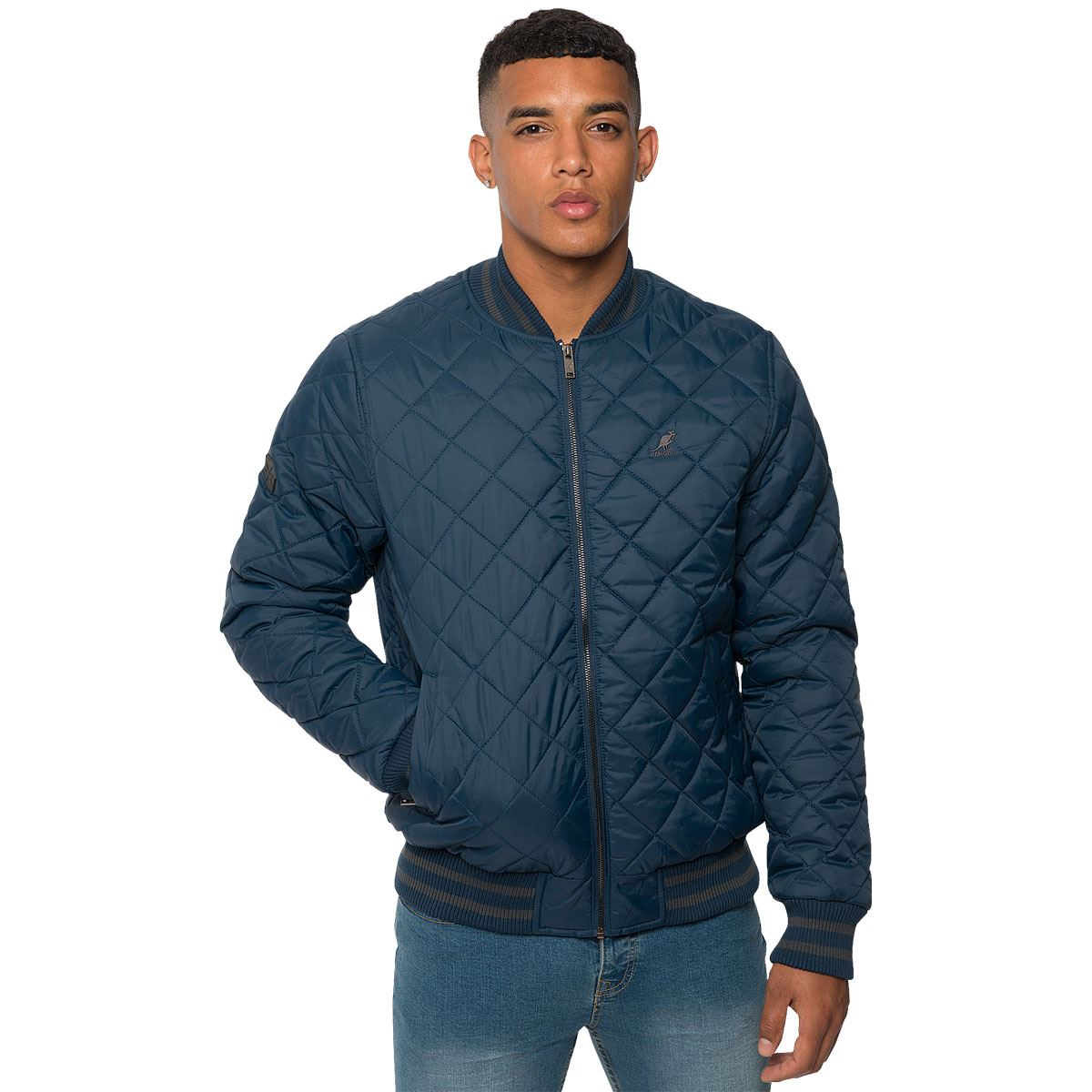 Kangol Mens Quilted Casual Bomber Jacket Branded Ribbed Puffa ... : mens quilted bomber jacket - Adamdwight.com