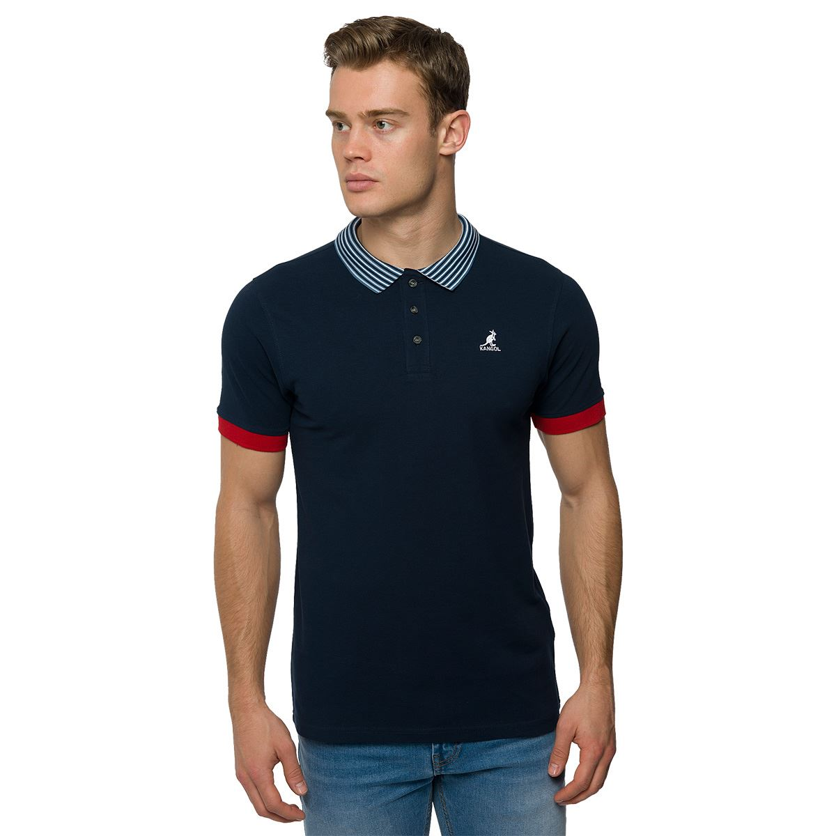 Kangol mens classic polo shirt plain top sporty striped for Branded polo t shirts