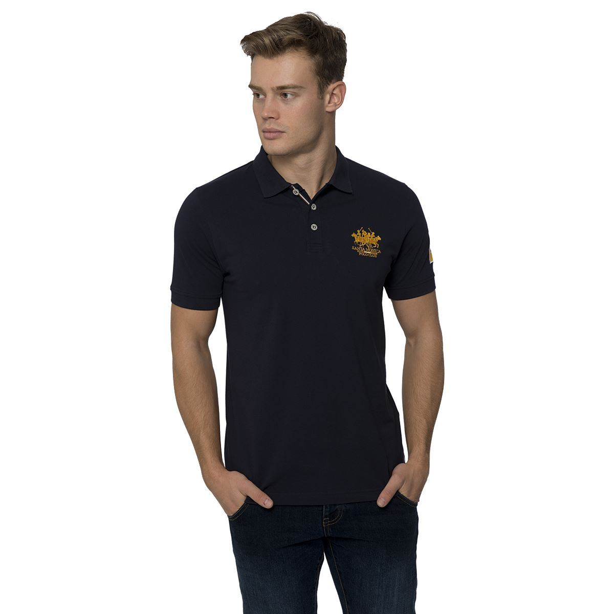 mens casual polo shirt short sleeved top by santa monica polo club size s xl ebay. Black Bedroom Furniture Sets. Home Design Ideas