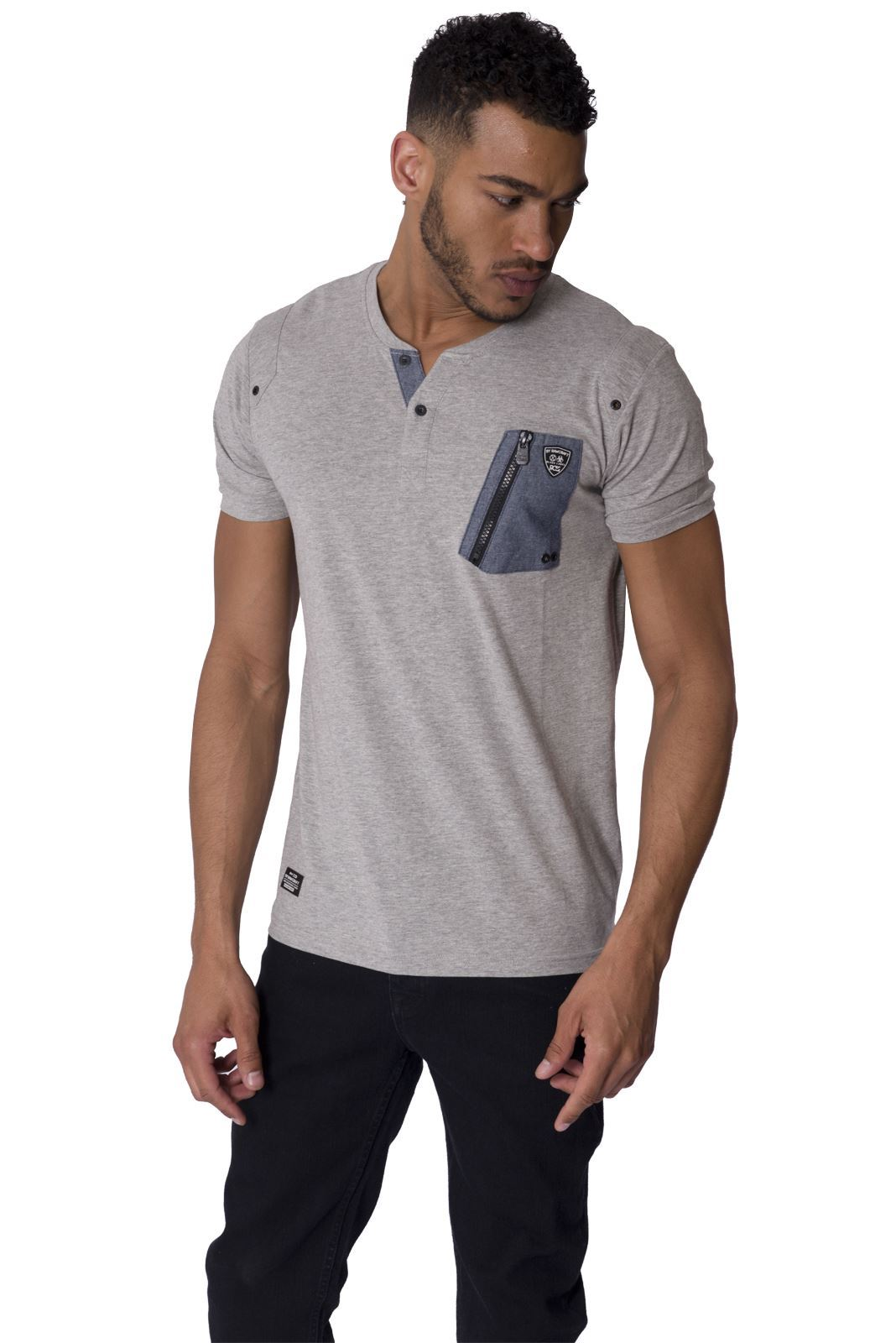 rawcraft mens short sleeve t shirt zip chest pocket button