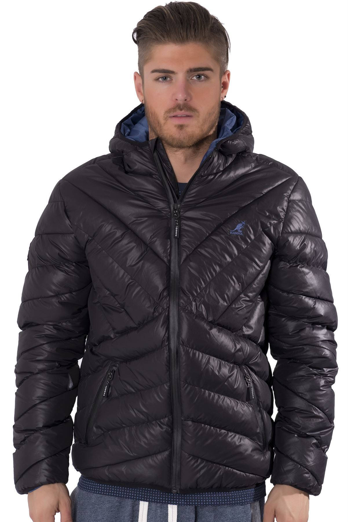 Kangol Mens Quilted Puffer Zip Up Jacket Streetwear Hooded