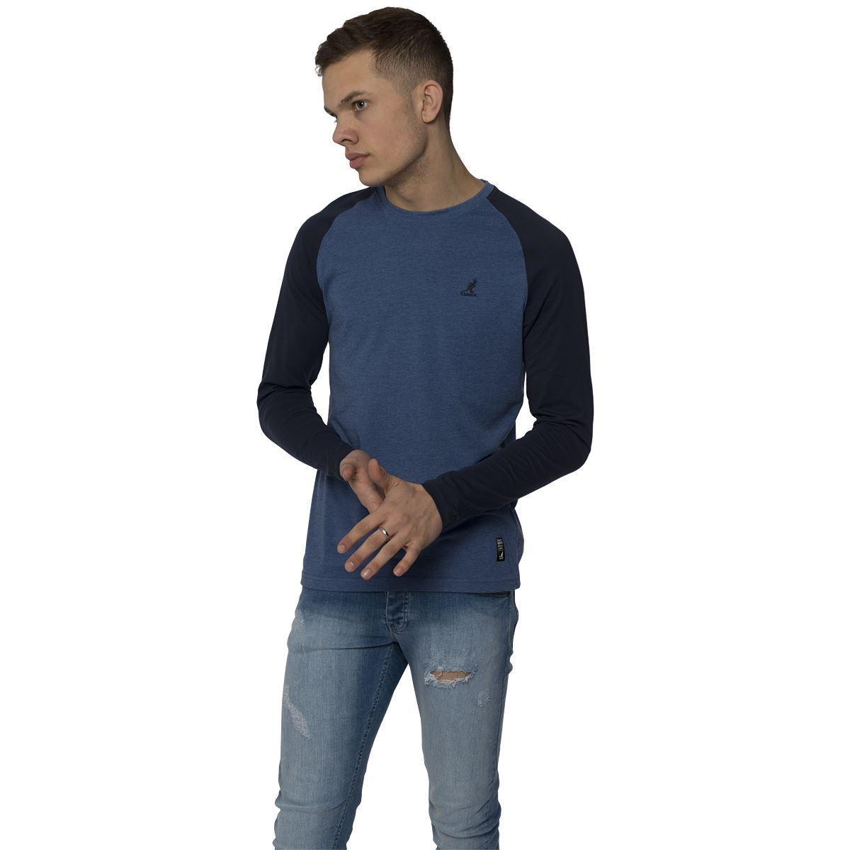 Kangol mens casual long sleeve t shirt contrast raglan for Mens casual long sleeve shirts