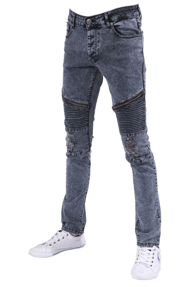 Mens skinny denim biker jeans