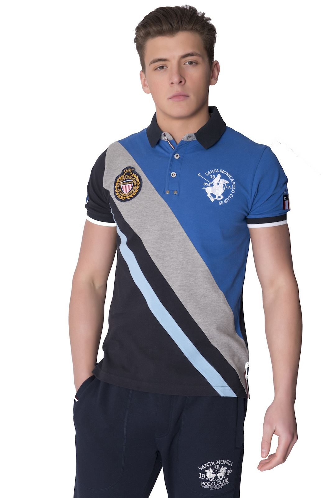 Santa monica polo club mens polo shirt short sleeve cotton for Branded polo t shirts