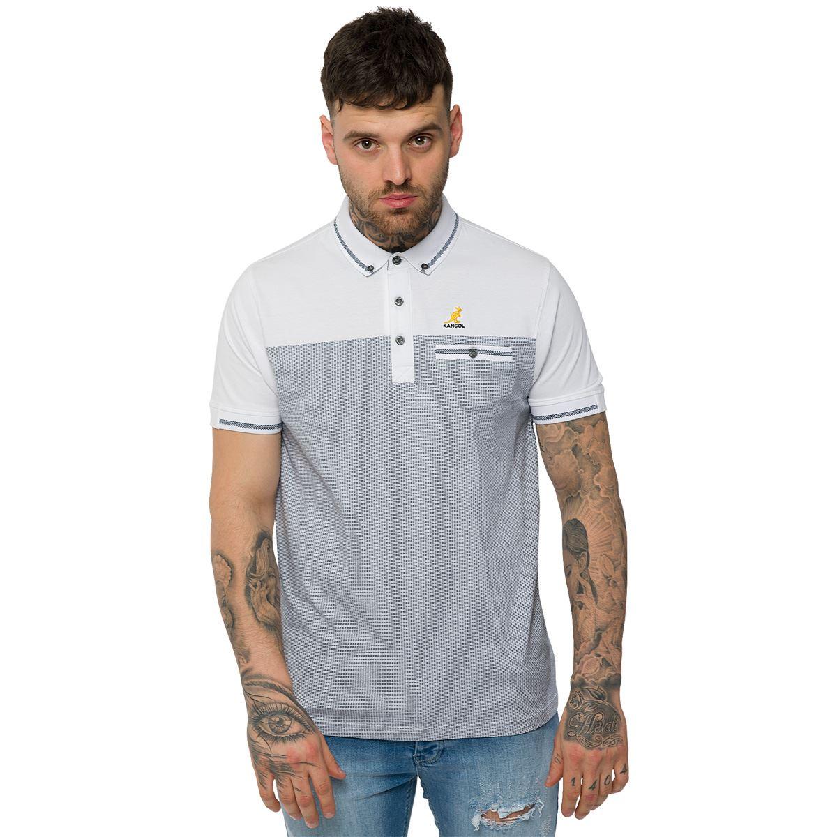 Kangol mens casual cotton polo shirt designer short sleeve for Xxl mens polo shirts