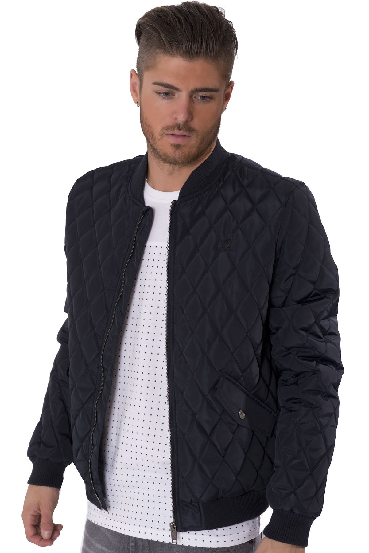 Kangol Mens Quilted Ma1 Bomber Jacket Zip Up Lightweight