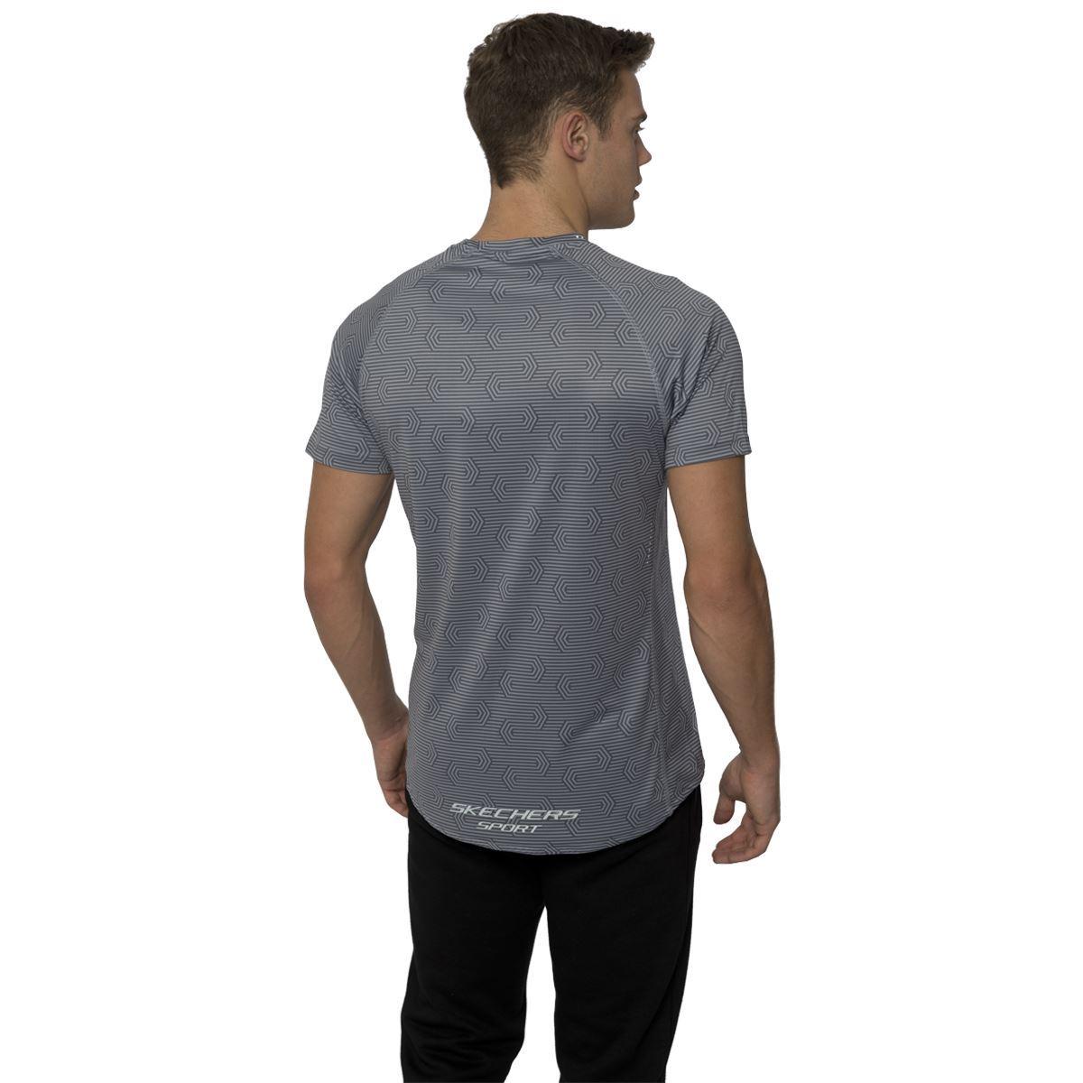 Skechers mens sports t shirt graphic geo print tee raglan for Xxl tall graphic t shirts