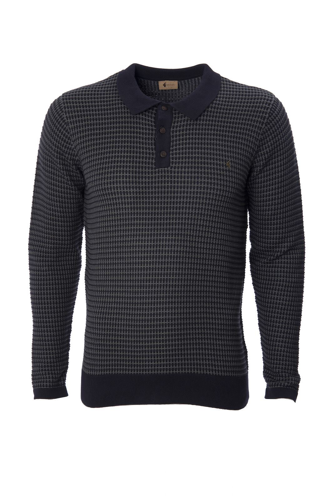 Mens knitted long sleeve polo shirt buttoned collared top for Knitted polo shirt mens