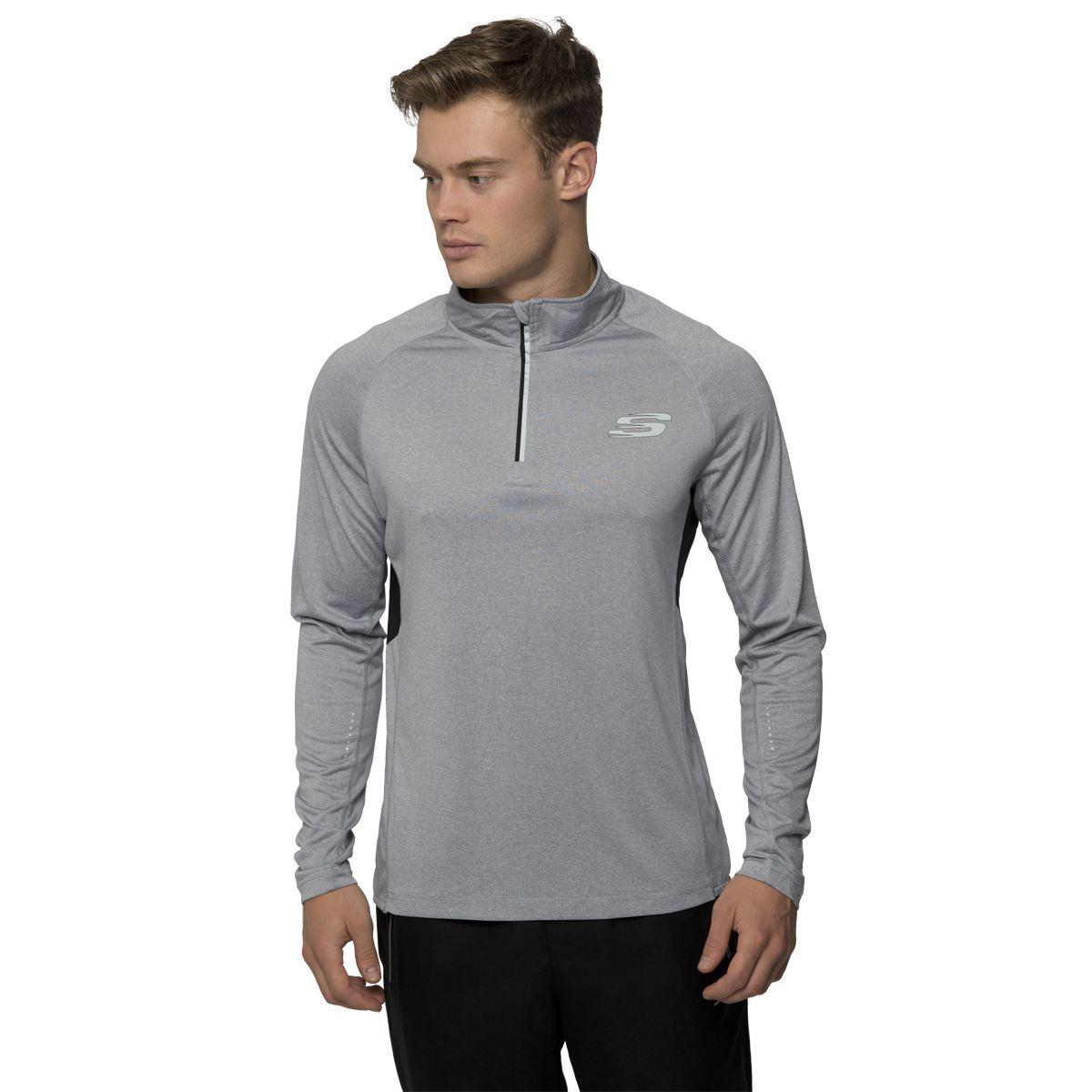 Skechers mens sports long sleeve t shirt half zip up for Best full sleeve t shirts