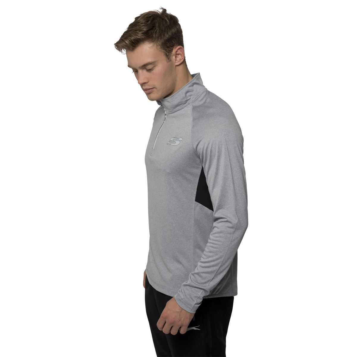 Skechers mens sports long sleeve t shirt half zip up for Xxl long sleeve t shirts