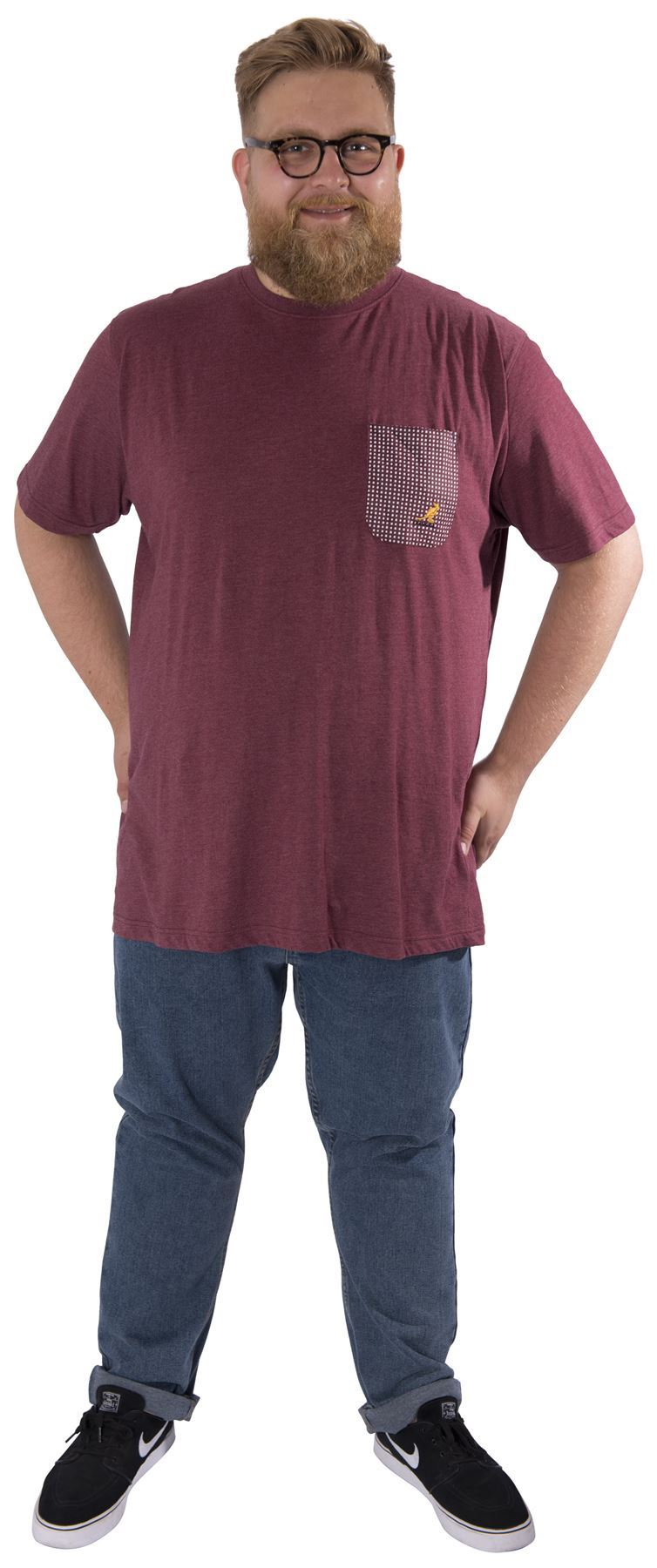 Kangol plus size mens casual marl t shirt short sleeve tee for Plus size men shirts