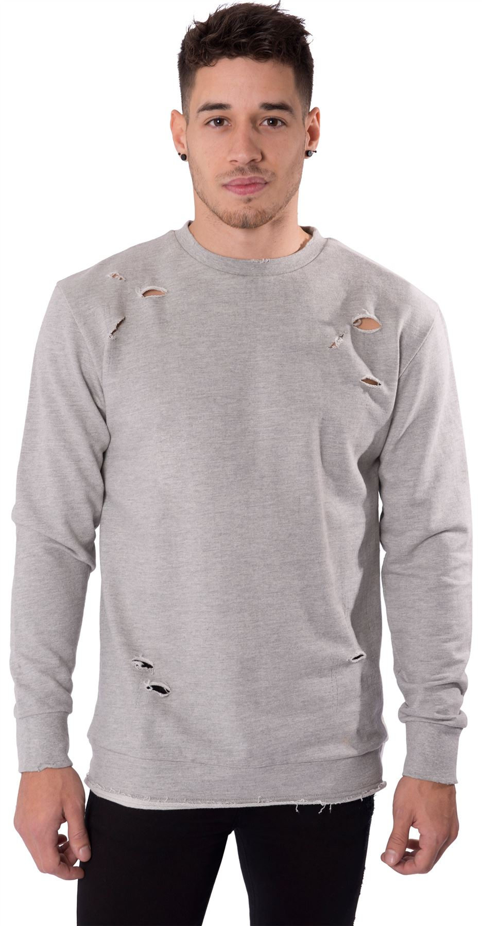 Mens casual jumper crew neck distressed ripped pull over for Pull over shirts for mens