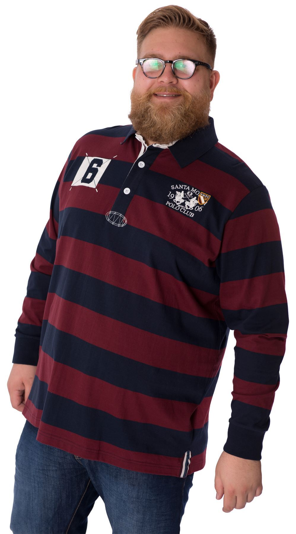Big mens rugby striped polo shirt plus king size long for Longer length mens polo shirts