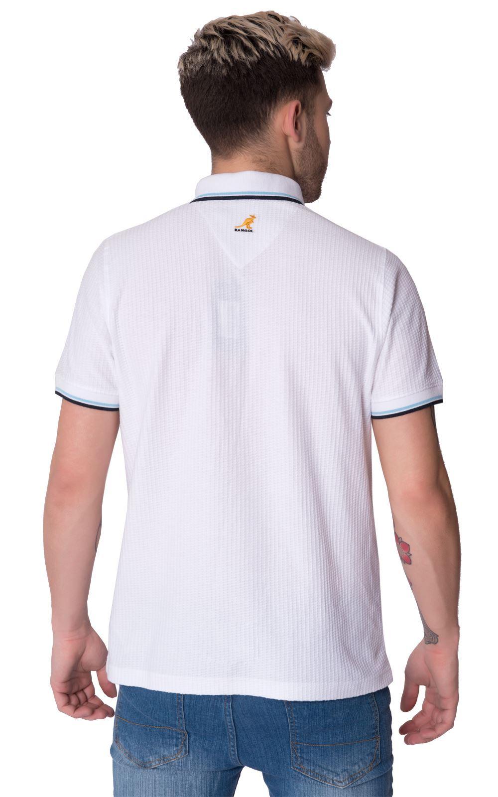 Kangol mens short sleeve button down collared cotton polo for Xxl mens polo shirts