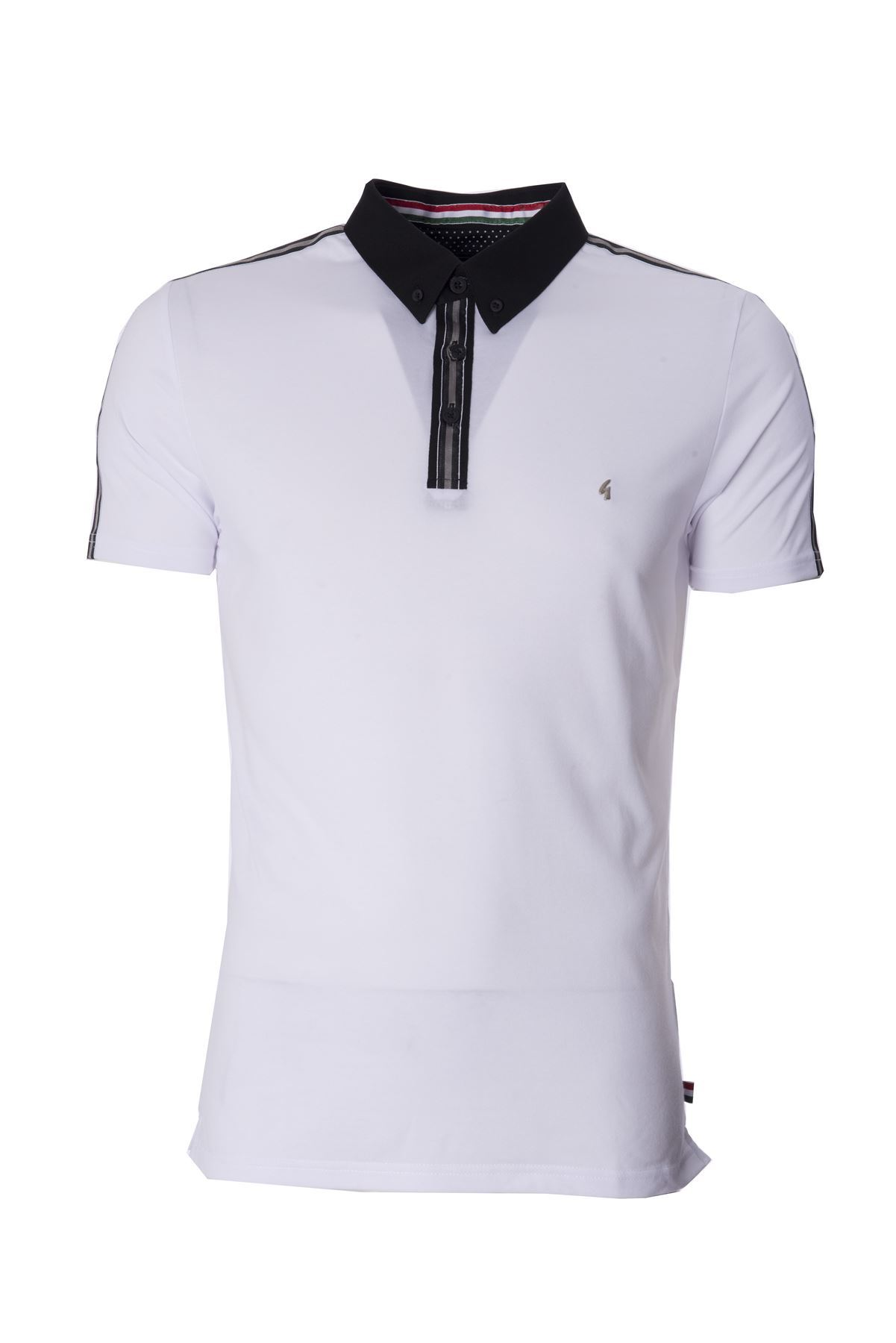 Mens white polo shirt button down contrast collar short for Best short sleeve button down shirts reddit