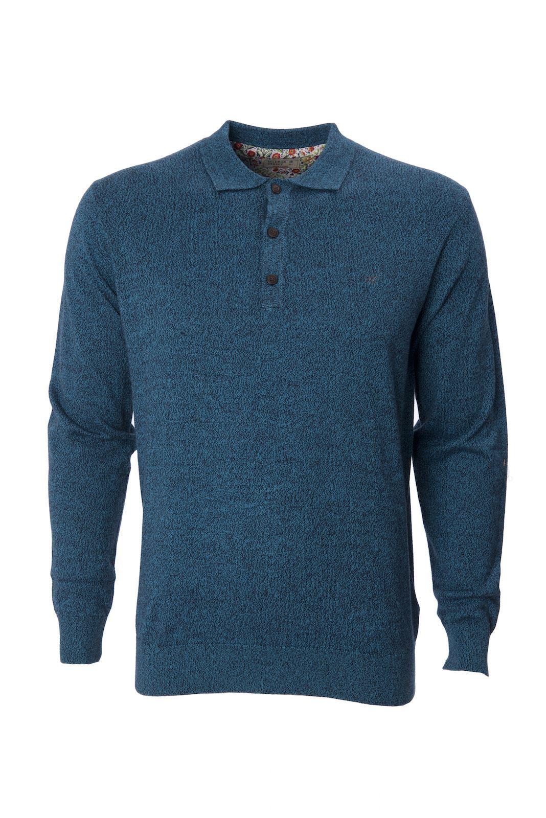 Maddox street mens knitted polo shirt collared long sleeve for Ribbed long sleeve shirt