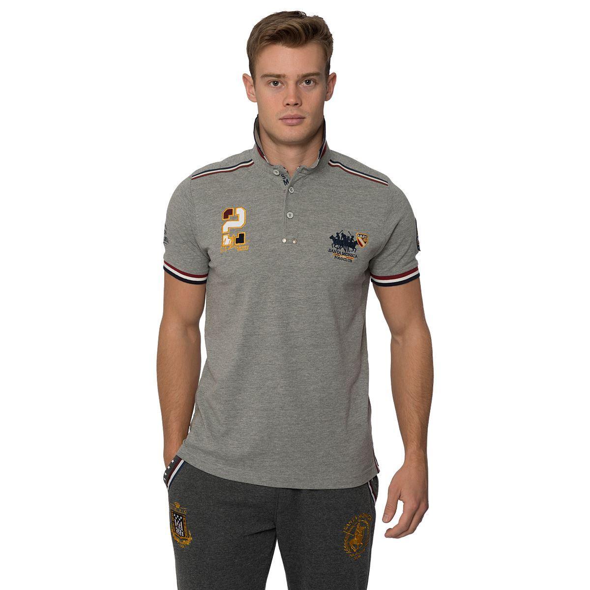 Mens casual polo shirt button up short sleeve top santa for Short sleeve casual shirt
