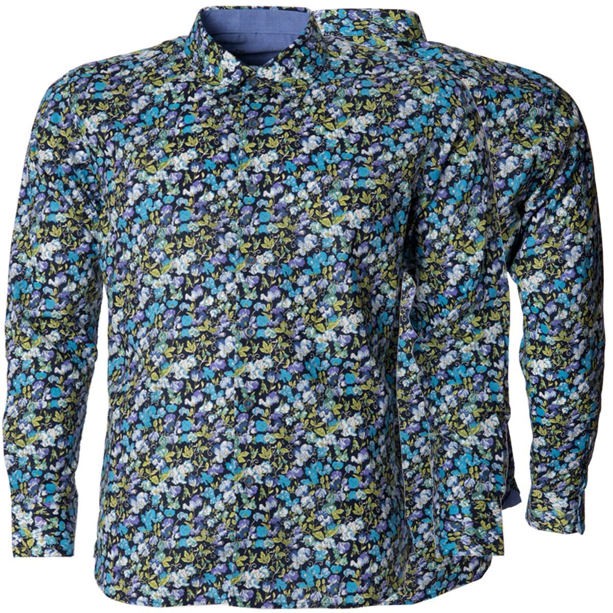Mens Summer Floral Printed Button Down Collared Long