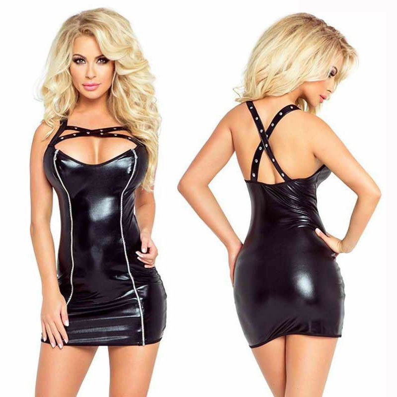 Sexy//Sissy Bodycon Dress Party Wet Look Black Sleeveless Stretch Clubwear