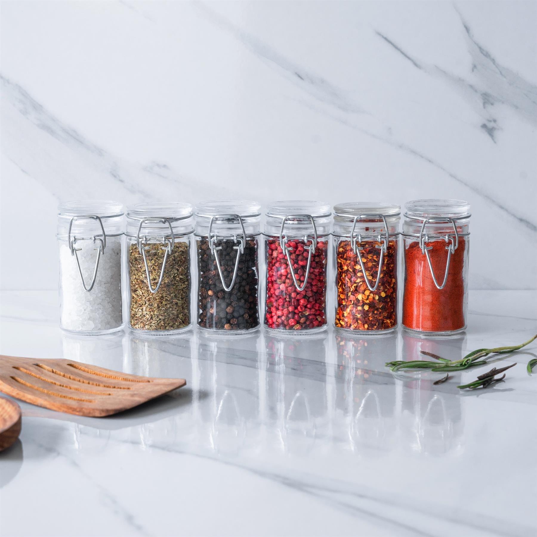 6x Glass Clip Top Spice Storage Preserving Jars Herb Canisters