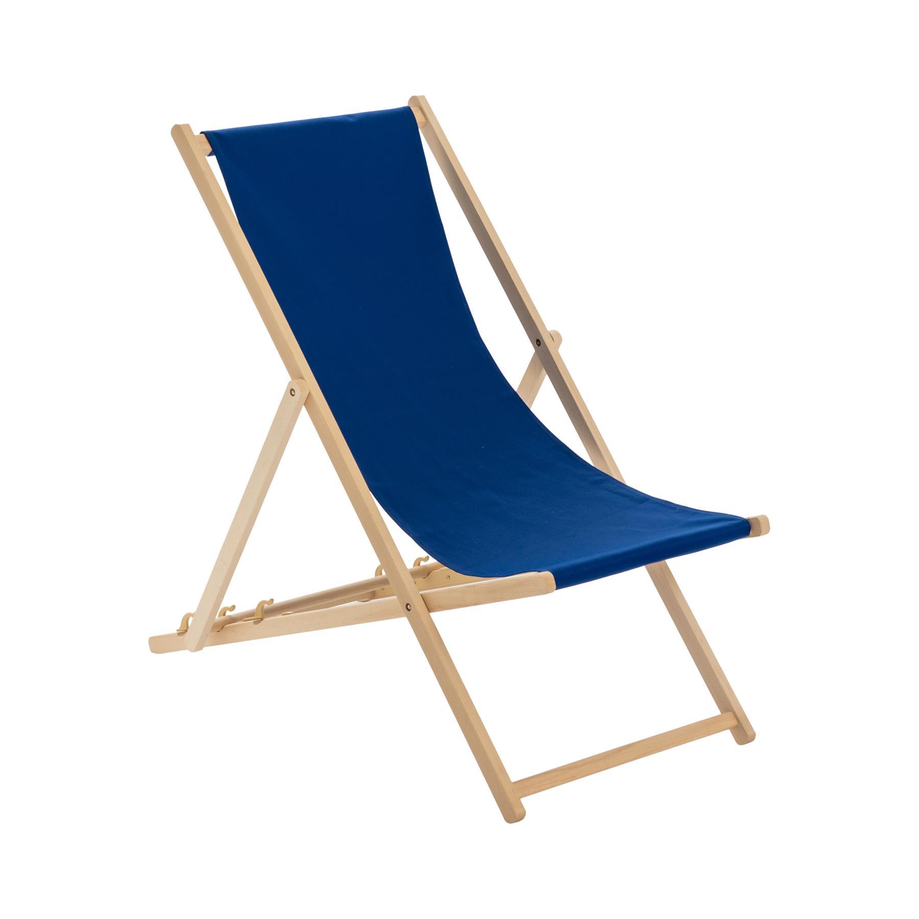 Détails sur Traditionnelle pliante Chaise longue en bois Jardin Plage Mer Pont Chaise Bleu