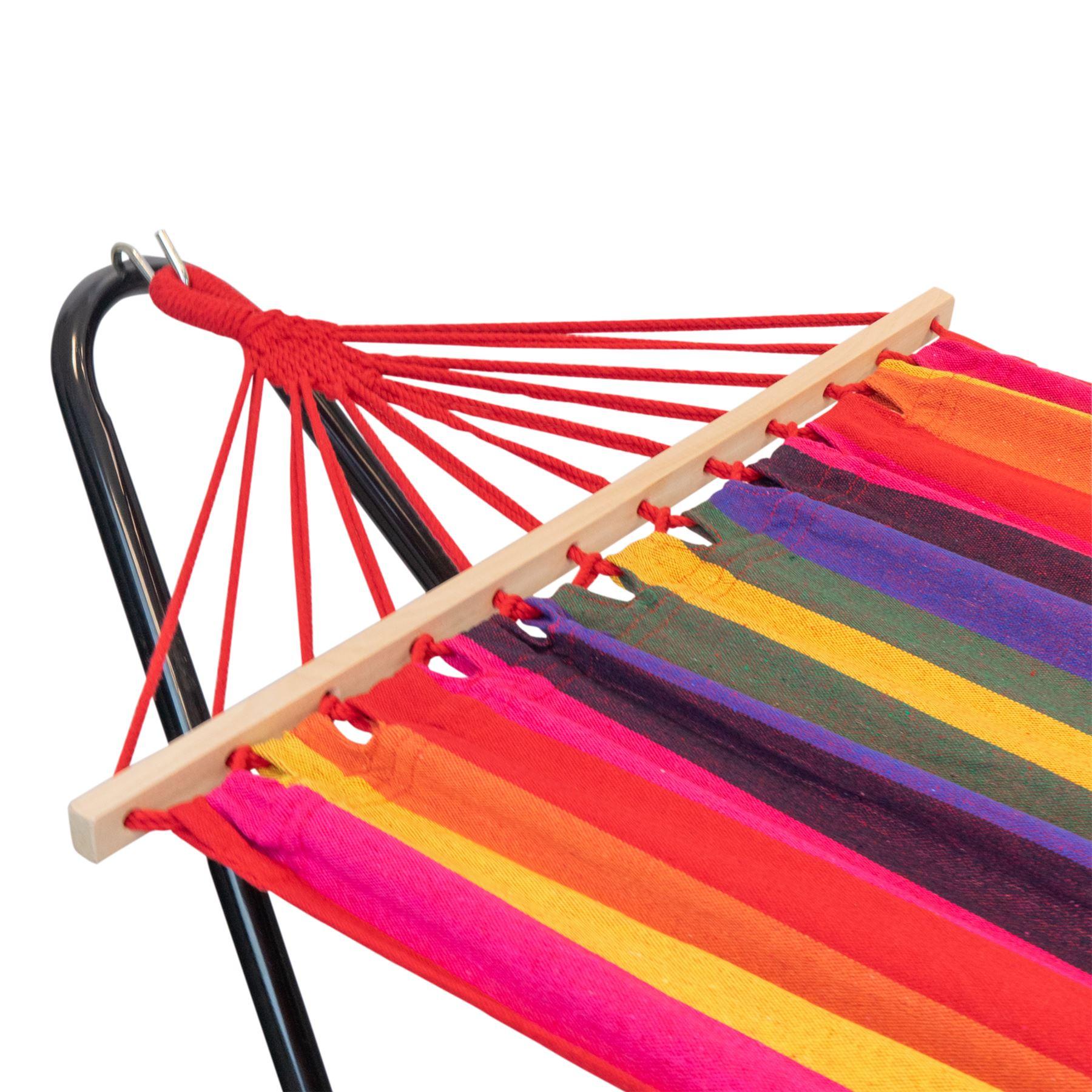 Ext rieur jardin br silien suspendu hamac avec support tissu de coton ebay - Hamac de jardin avec support ...