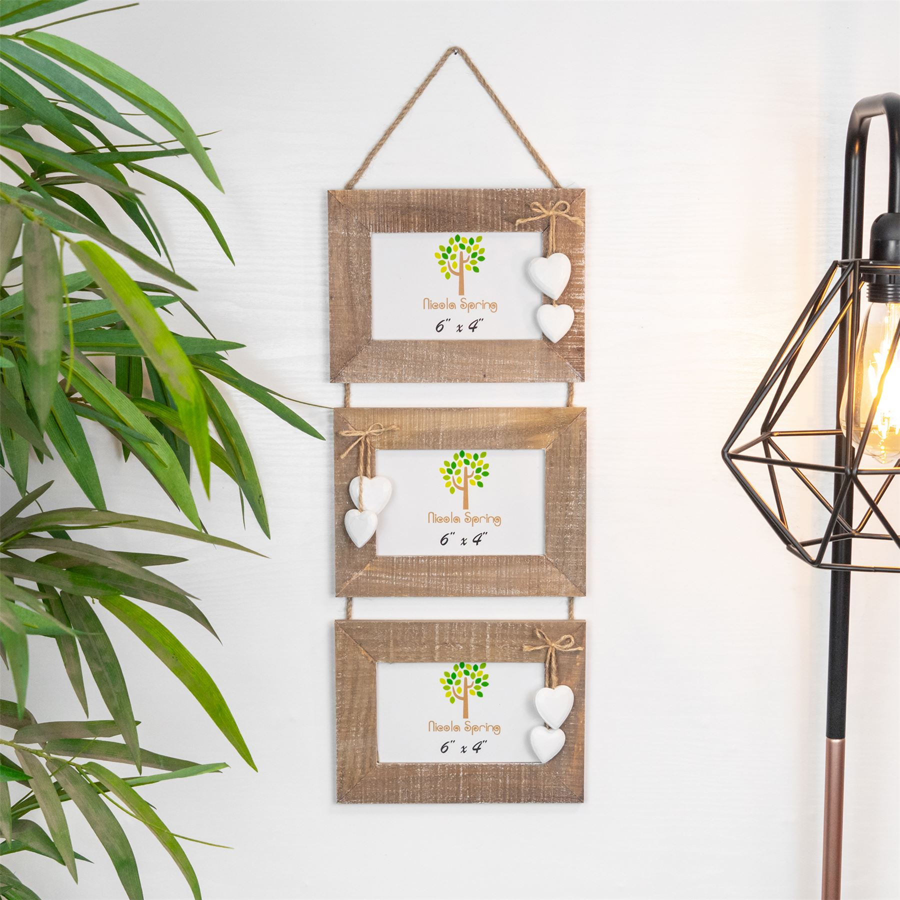 Shabby Chic Bois Bois Flotte Triple Hanging Coeurs Blanc Cadre Photo
