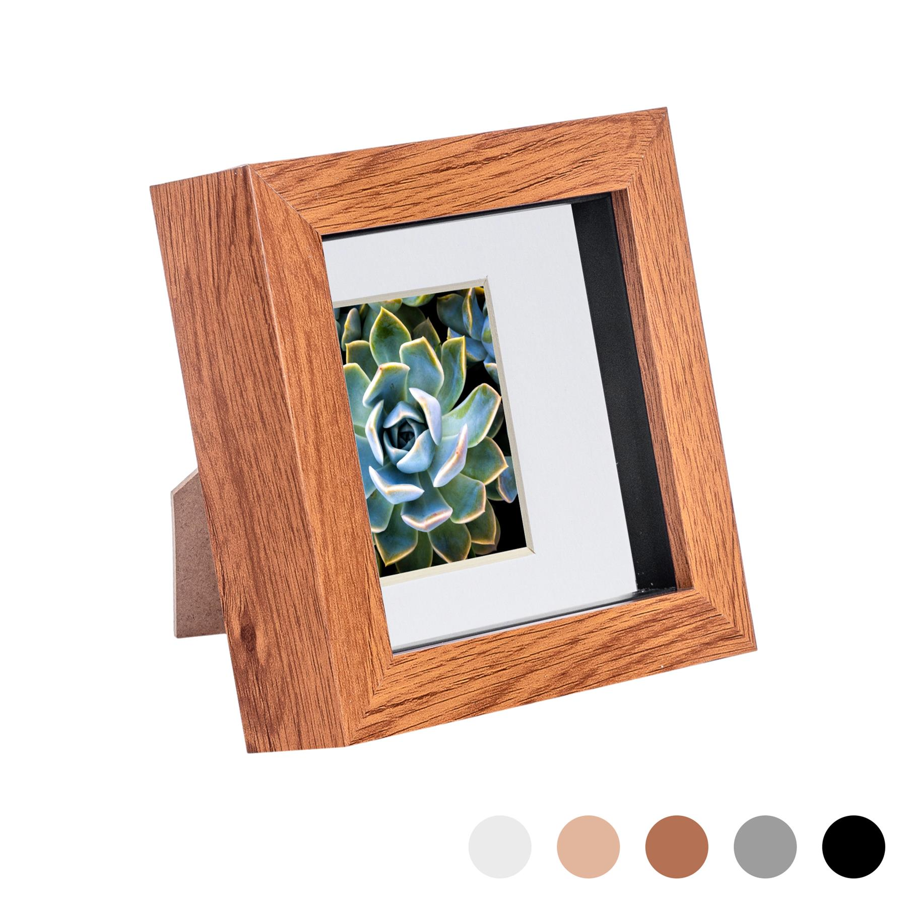 miniature 9 - 4 x 4 3D Box Frame Photo Picture Deep Display Shadow with 2 x 2 Mount