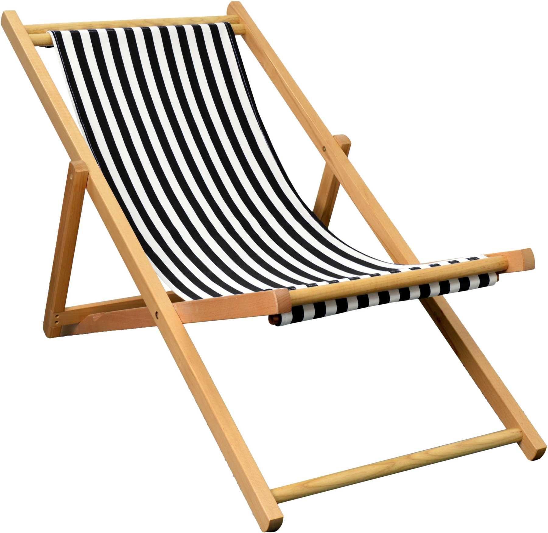 Folding Wooden Deckchair Garden Beach Seaside Deck Chair Black White Stripe