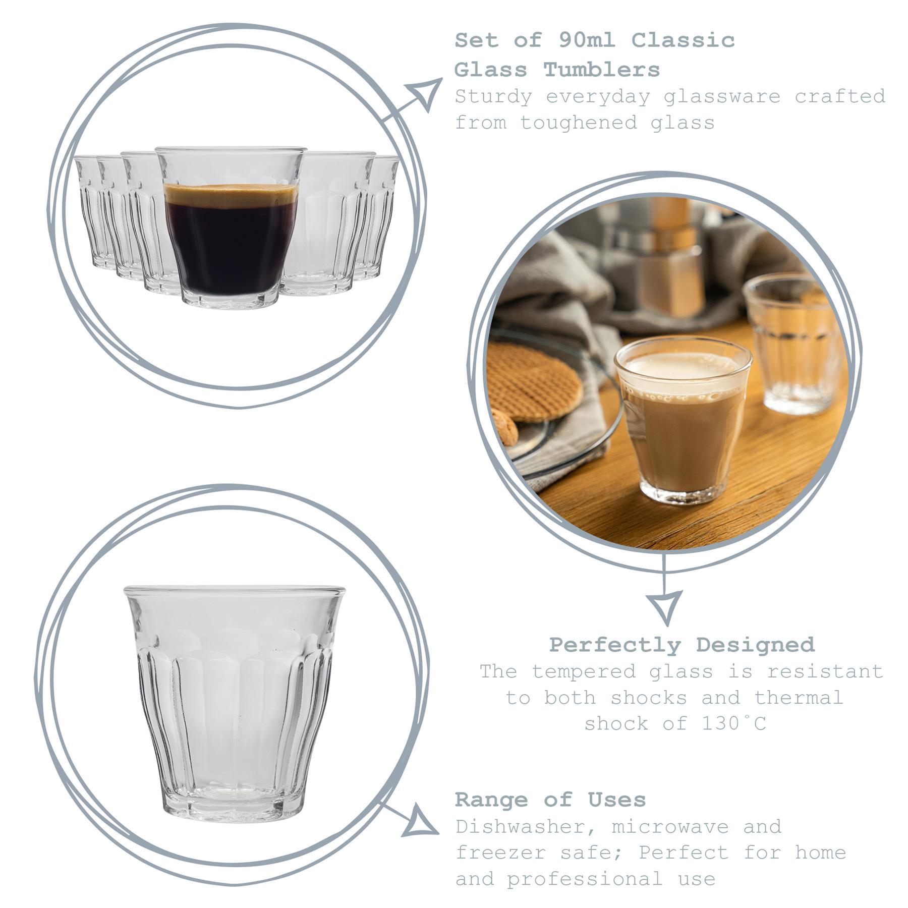 Duralex Provence Vidrio Espresso Tazas Vasos De Chupito Set 90ml x6