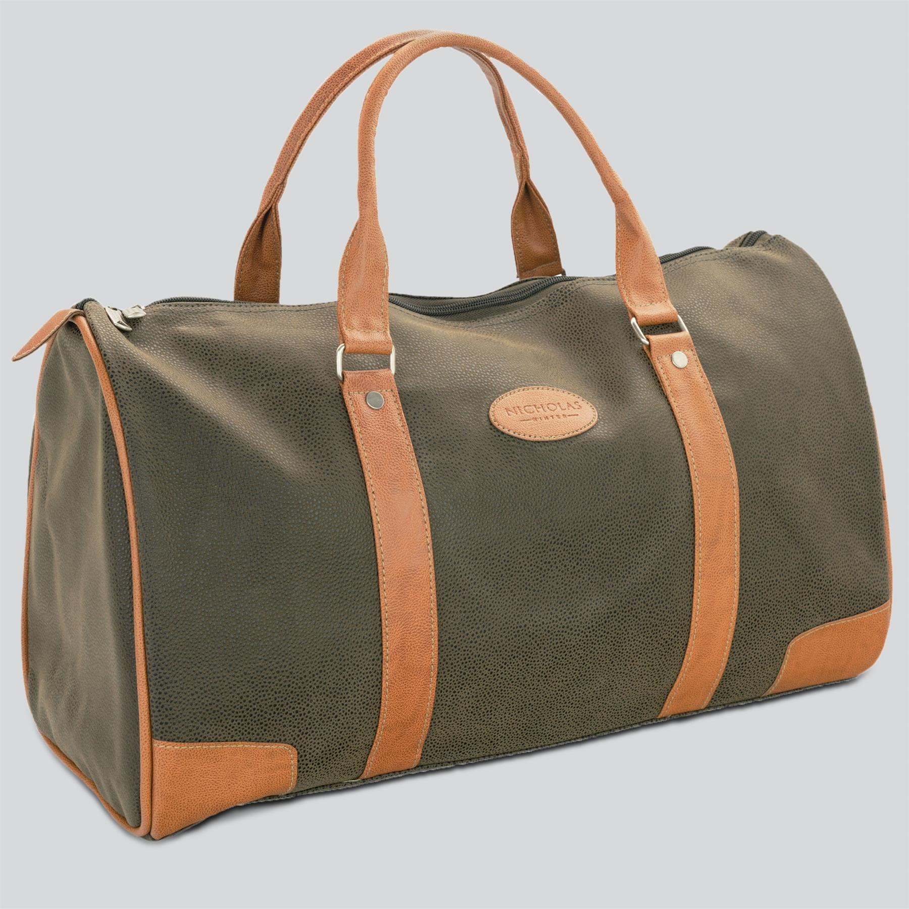 00a8bde1734 Details about Mens Travel Bag Holdall Weekend Overnight Leather Look Duffle  Khaki Medium