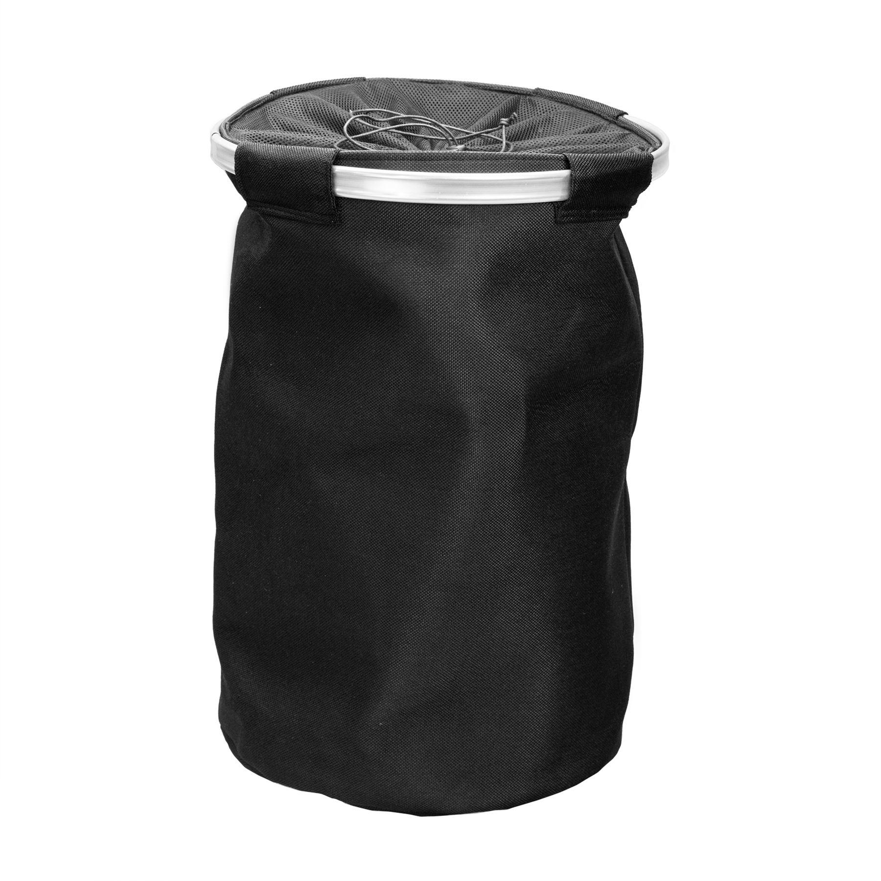 Noir Sac Hamper Hoop Métal Grande ronde en toile Panier à linge