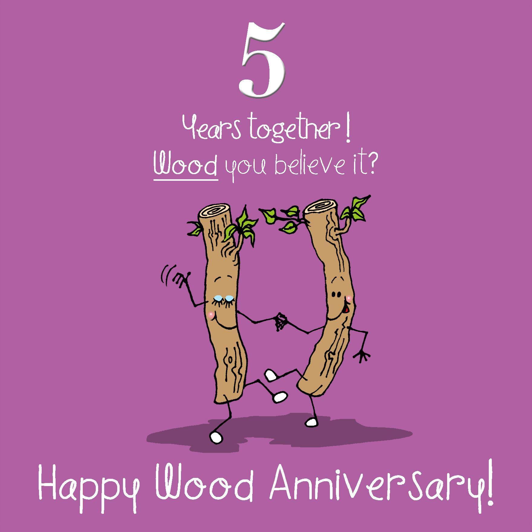 5th Wedding Anniversary Greetings Card Wood Anniversary
