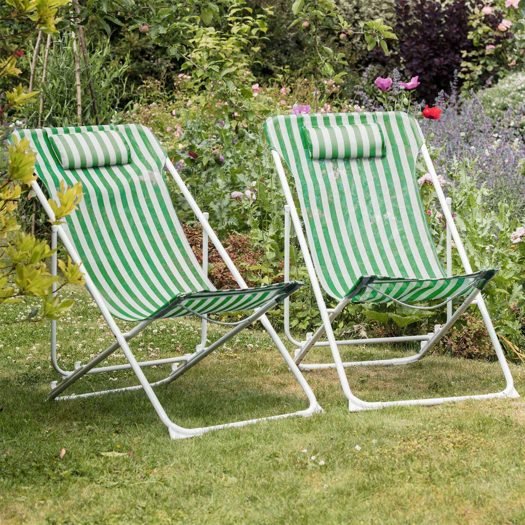 Longue Chaise Pliable Avec Un Cadre Blanches Metallique Rayures Sur Et Détails Vertes HWE2D9IY